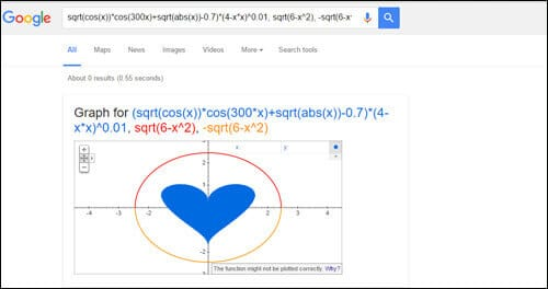 Draw a heart shape -Google-funny-tricks