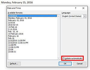 Auto-Update Date and Time- MS word Tips
