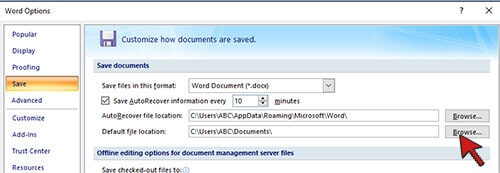 Change the Default Folder Location in word- MS word Tips