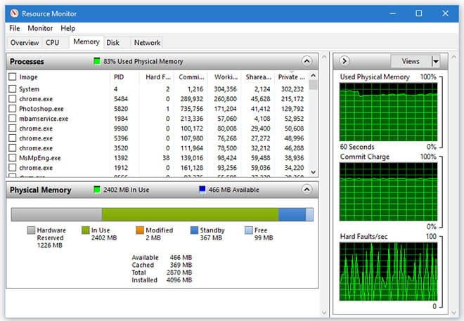 Resource monitor-Check Your Computer's Memory Usage