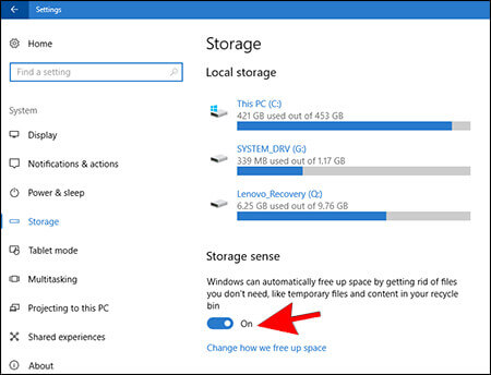 3- Storage Sense on - Automatically Delete Files in Download Folder
