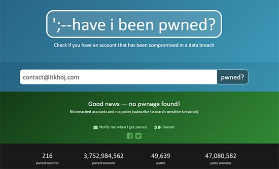Have I been pwned-Check Email Address Hack