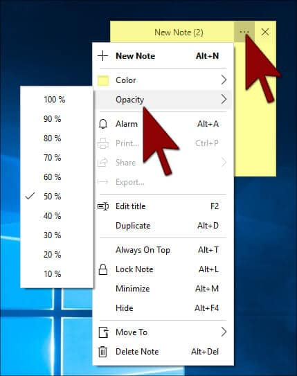 Opacity -Simple sticky notes in Hindi