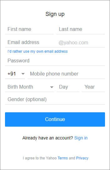 Yahoo - Create New Email Account In Hindi