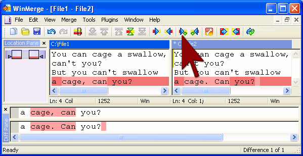 Compare Two Files or folders in WinMerge