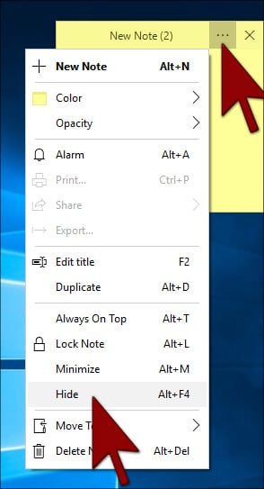 Hide -Simple sticky notes in Hindi