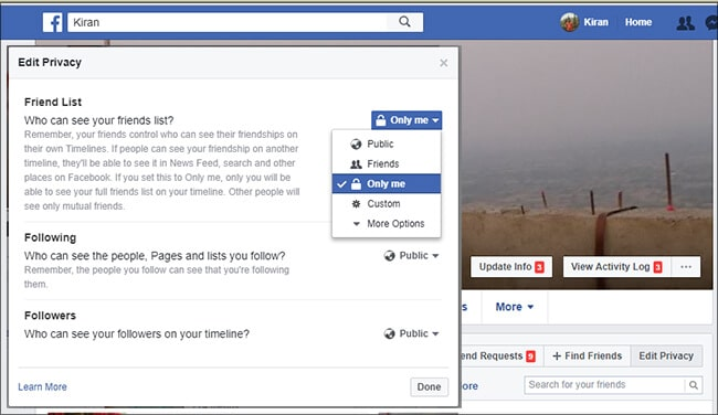Hide your list of friends -Facebook Tips Tricks in Hindi