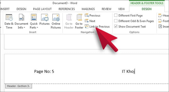Delete a Header or Footer from a Single Page in Word Hindi1