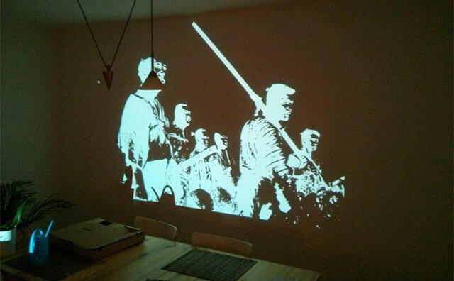 Stencil Wall Mural by projector