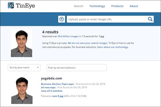 TinEye - Best Free Face Search Engines