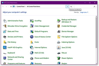 Control Panel - Windows Meaning in Hindi